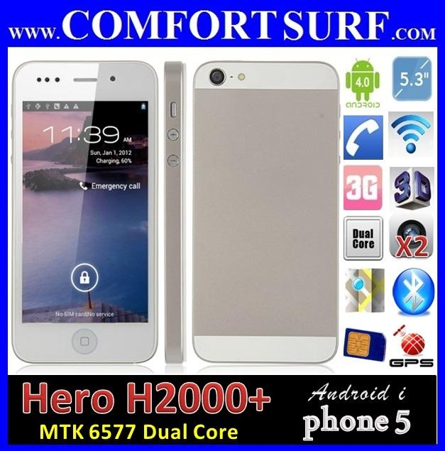 Hero H2000+ MTK6577 Dual Core I phone 5 alike GPS Smart Phone X710D i9220