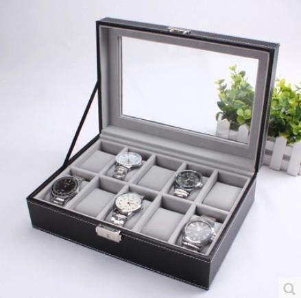 High Grade PU Leather Watch Box 10 Slots, Glass Top, Lock Type