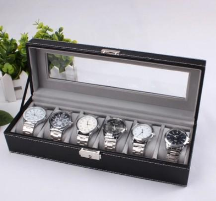 High Grade PU Leather Watch Box 6 Slots, Glass Top, Lock Type
