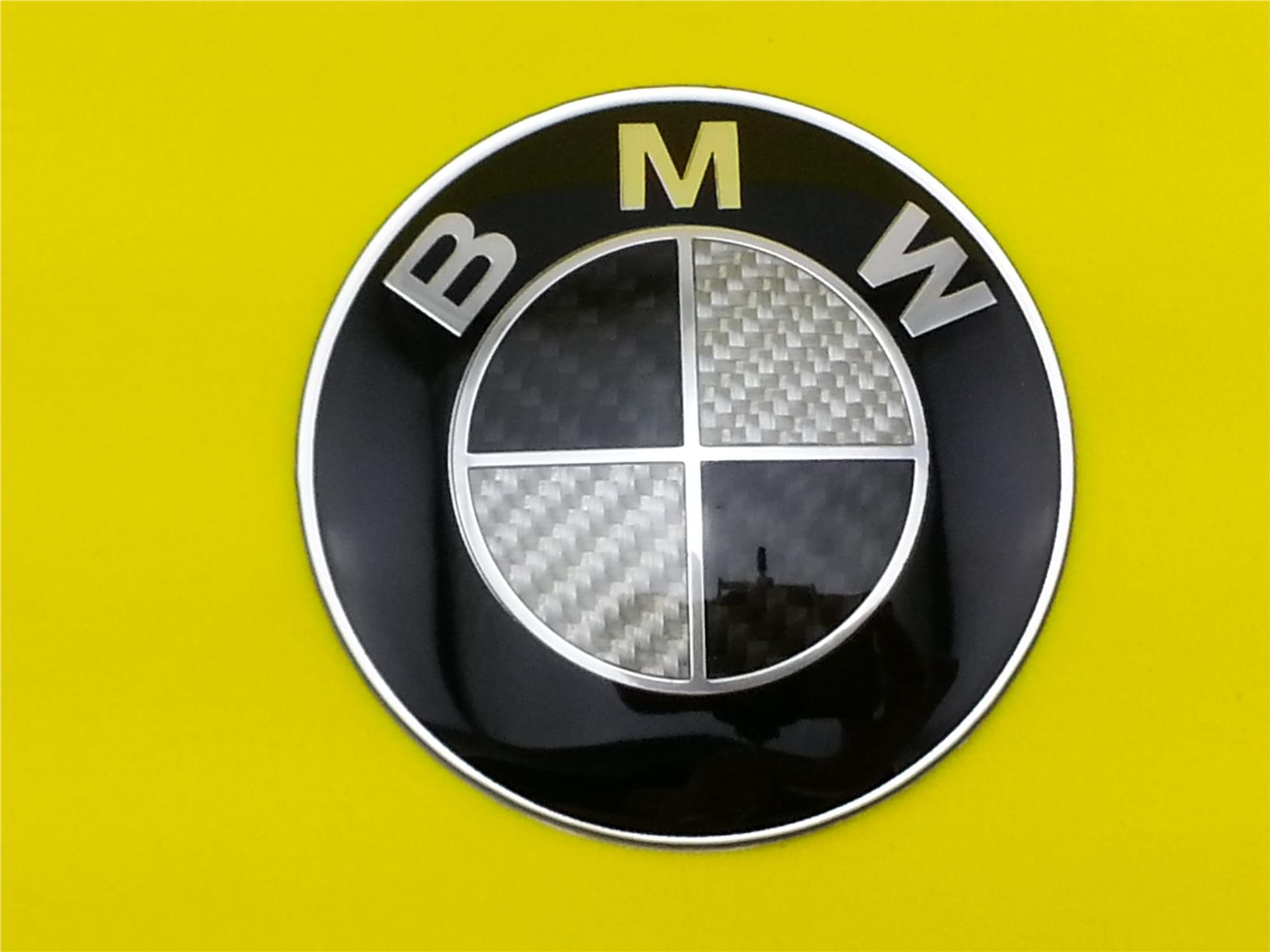High Quality Black & White CARBON BMW EMBLEM LOGO FRONT OR REAR