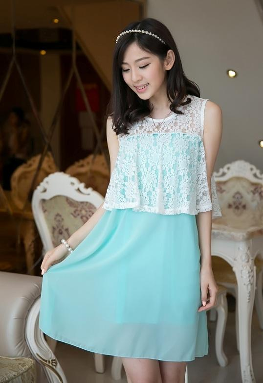 High Quality Elegant Lace Chiffon Dress (Green)