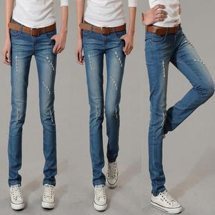 High Quality Fashion Worn-out Long Jeans (Light Blue)