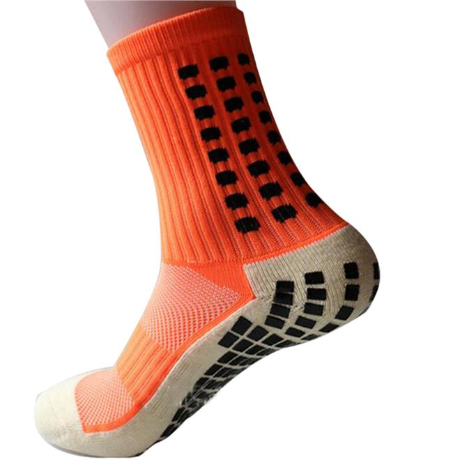 High Quality Football Soccer Socks Anti Slip Cotton (Orange Color)