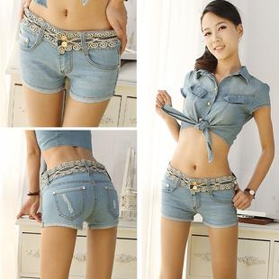 High Quality Lovely Embroid Shorts Jeans (Light Blue)
