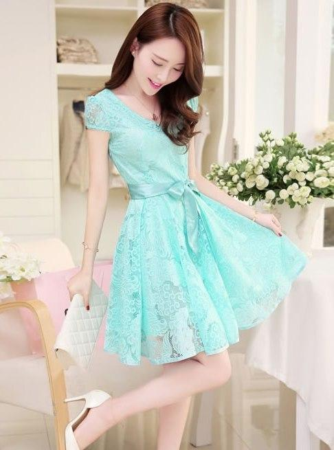 High Quality Lovely Lace Dinner Dress (Blue)