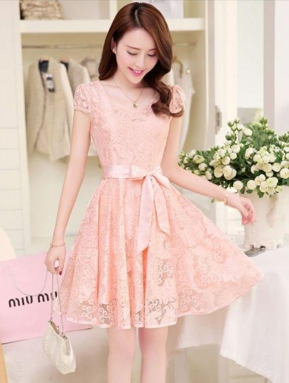 High Quality Lovely Lace Dinner Dress (Pink)