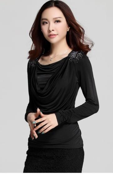 High Quality Show-slim Drooping Blouse (Black)