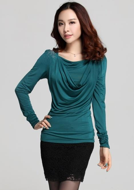 High Quality Show-slim Drooping Blouse (Green)