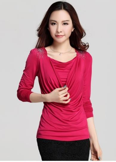 High Quality Show-slim Drooping Blouse (Rose Red)