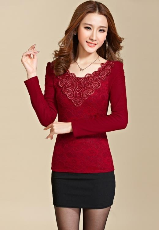 High Quality Show-slim Lace Long-sleeve Blouse (Wine Red)