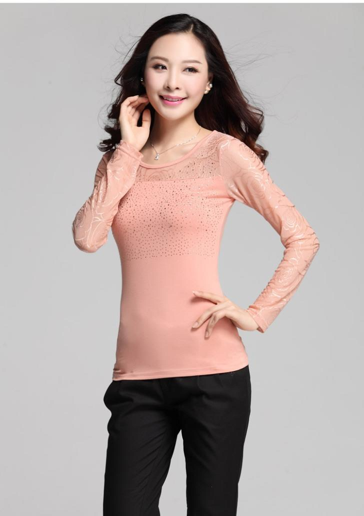 High Quality Show-slim Long-sleeve Blouse (Orange Pink)