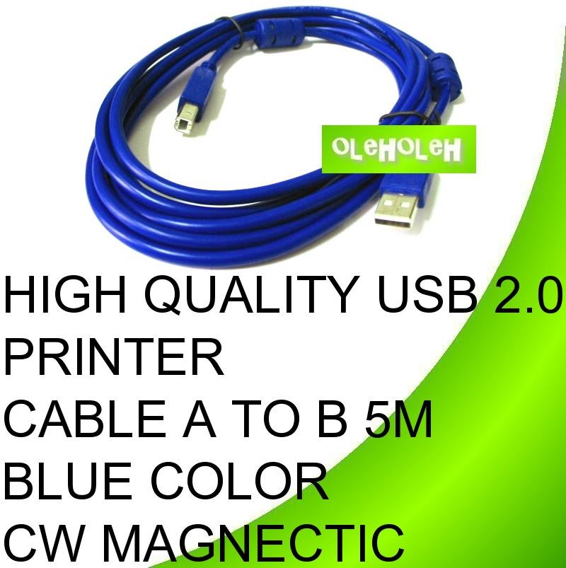 High Quality USB 2.0 Printer Cable A to B 5M CW Magnetic