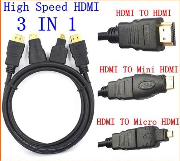 HIGH QUALITY V1.4 HDMI 3 IN 1 CABLE W/ MINI MICRO HDMI ADAPTER (H14B)