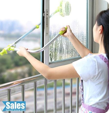 High Rise Safe Window Glass Cleaner Wiper Retractable U Shaped