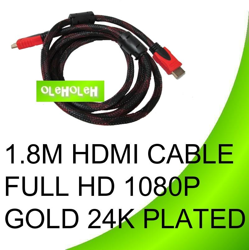 High Speed Video HDMI Cable Full HD1080p Gold 24K Plated 1.8m