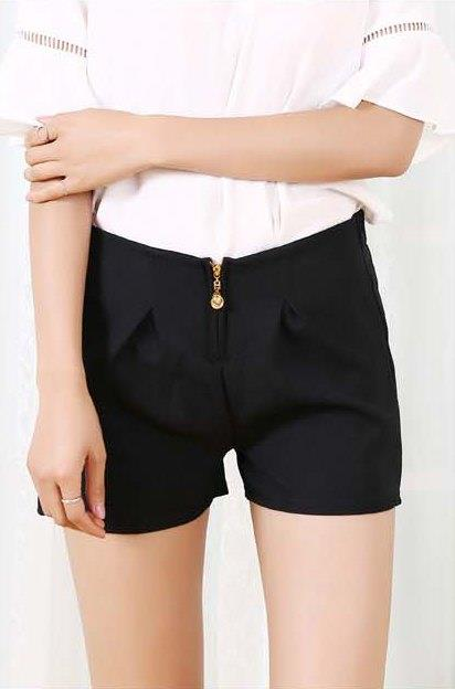 High Waist Zipped Show-slim Chiffon Shorts (Black)