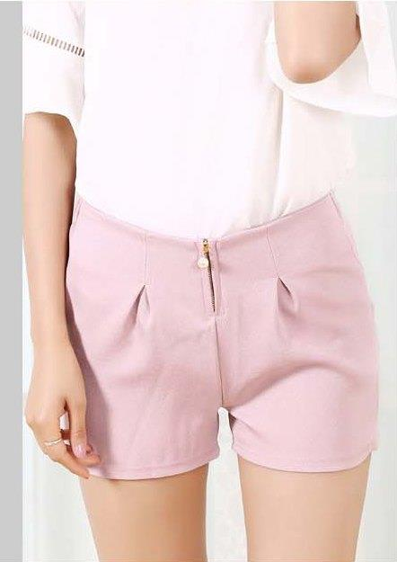 High Waist Zipped Show-slim Chiffon Shorts (Pink)