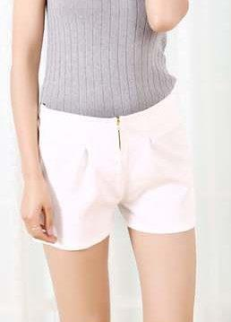 High Waist Zipped Show-slim Chiffon Shorts (White)