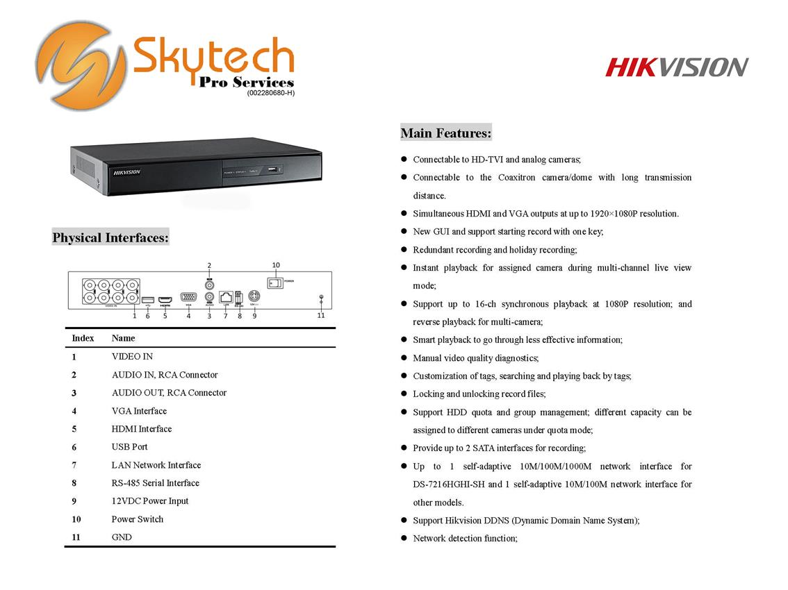 HIK VISION 16 CHANNEL HD-TVI DVR DECORDER
