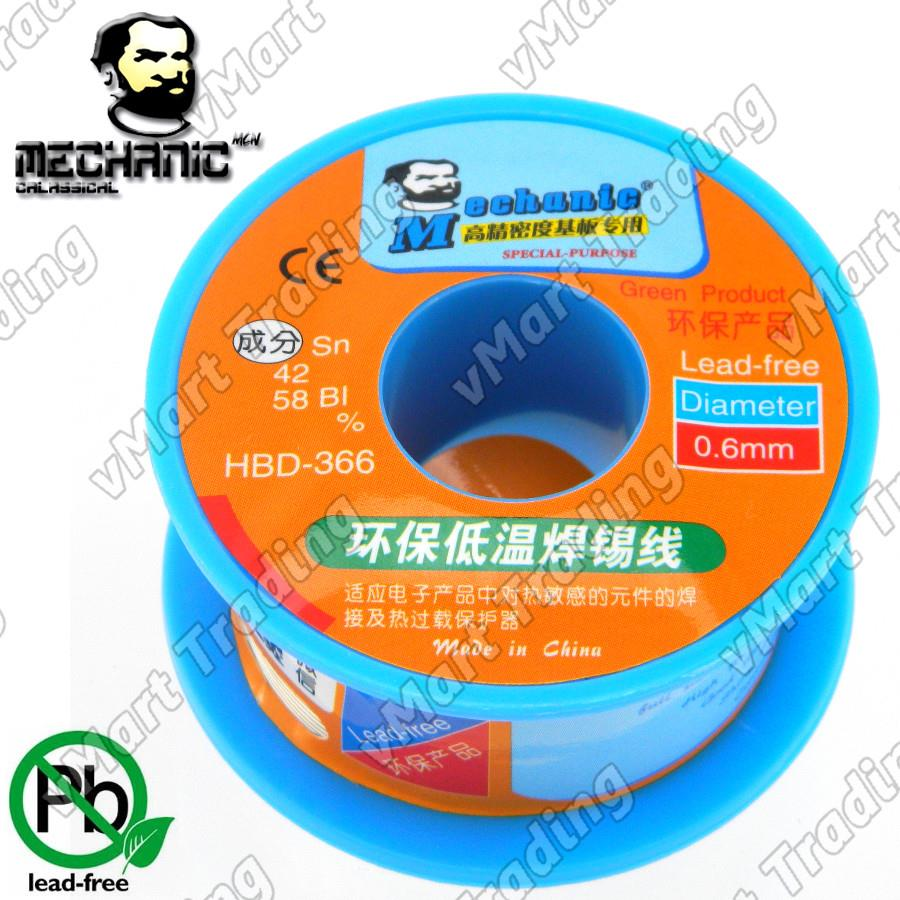HKMC Lead-Free Sn48Bi52 Flux Core Solder Wire 0.6mm 40g