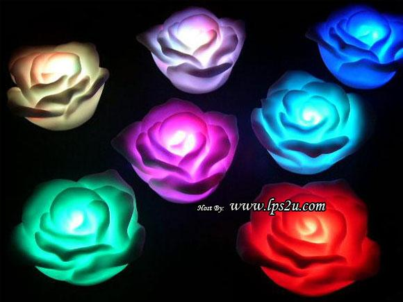 Home Deco - 7 Colorful Floating Flower Rose LED Lights