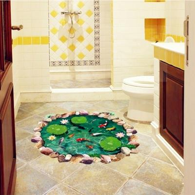 Home Decoration Fashion 3D Fish Pond Ground Stickers Lotus Color
