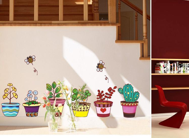 Homestay deco friendly decals colorful pots baseboard wall stickers
