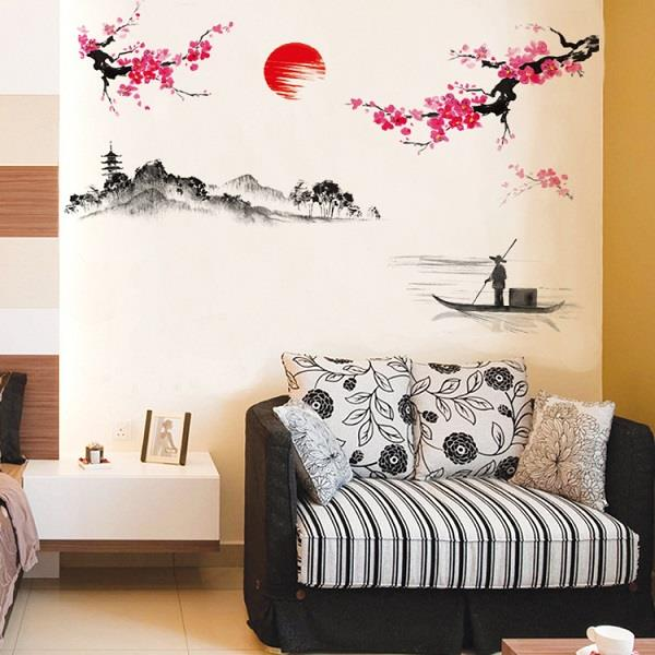 Homestay deco friendly decals unique design chinese style of landscape