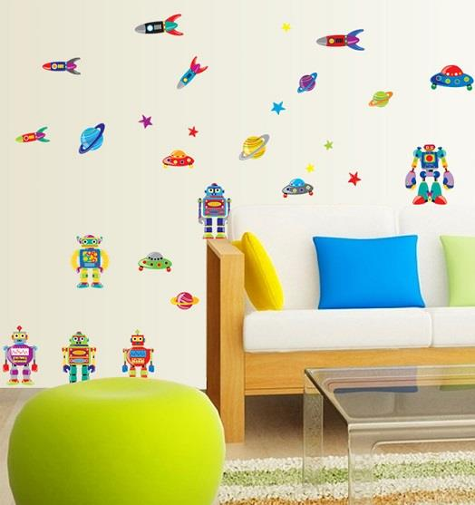 Homestay deco friendly decals unique design cute alien cartoon robot