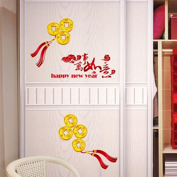 Homestay deco friendly decals unique design happy new year wall art