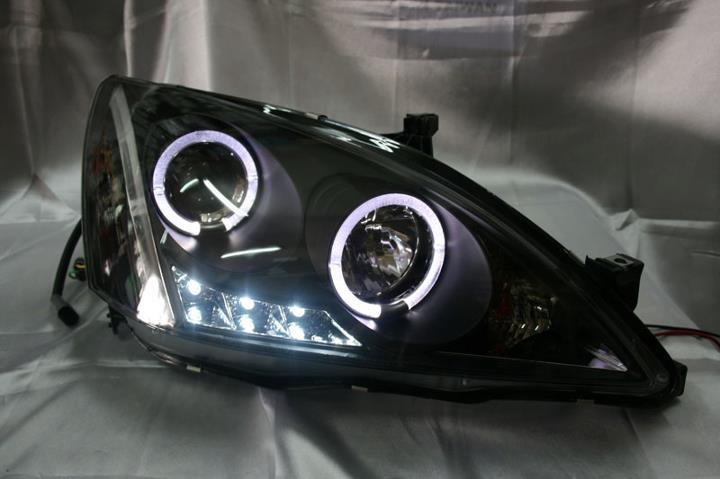 HONDA ACCORD 03-07  BLACK FACE PROJECTOR HEADLAMP WITH LED RING & LED