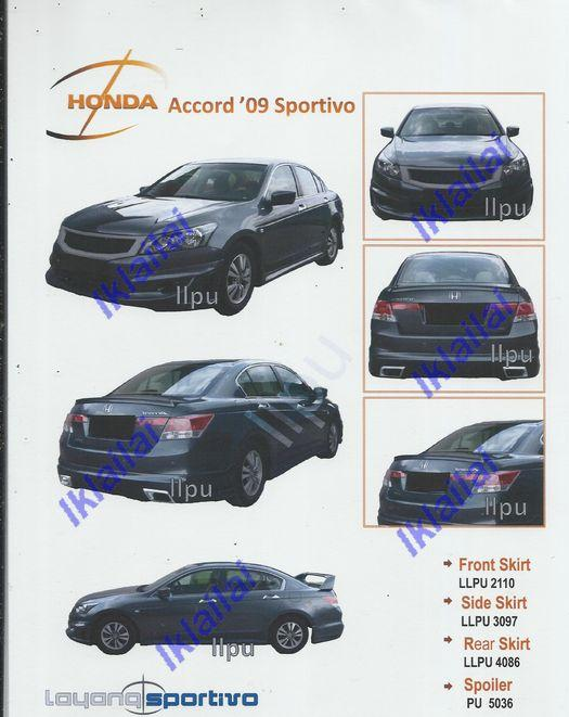 HONDA ACCORD '09 Sportivo Full Set Body Kit PU [Skirt+Spoiler]