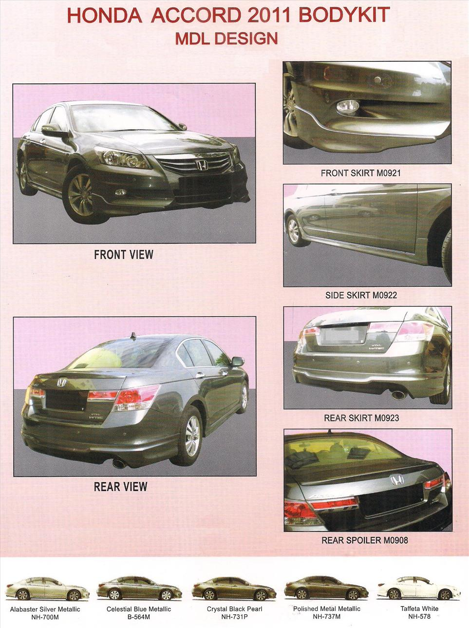 HONDA ACCORD 2011 MDL DESIGN FULL BODYKIT + PAINTING