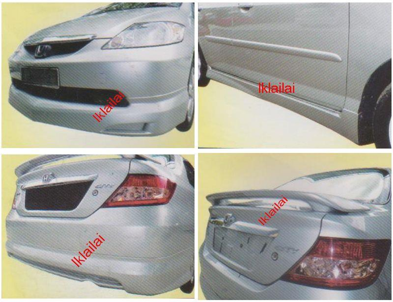 Honda City 03 Mugen Set Skirting BodyKit Front+Side+Rear Skirt+Spoiler