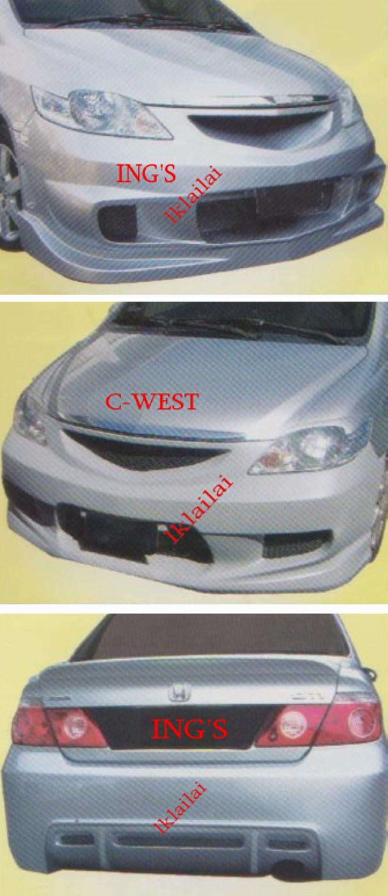 HONDA City '06-08 Front / Rear Bumper [ING'S / C-WEST] [FIBER]