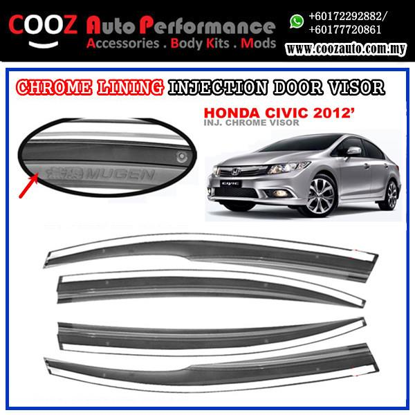 HONDA CIVIC 2012 Sun Window Vent Door Visor With Chrome Lining