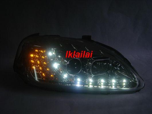Honda CIVIC '96-00 rojector Chrome/Black Head Lamp LED[R8 Look]