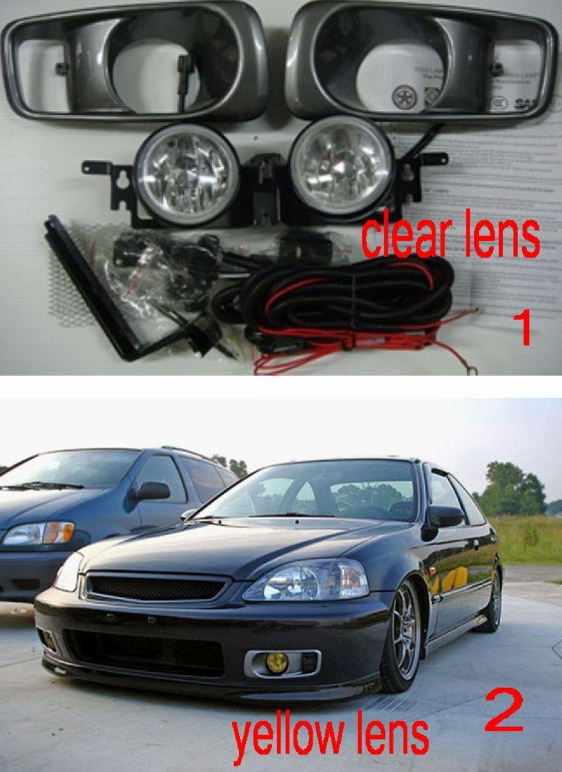 Honda Civic 99-00 Fog Lamp with Wiring + Switch [Clear / Yellow Lens]