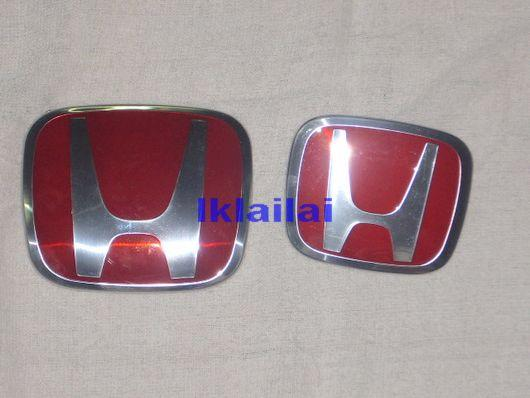 Honda Civic FD '06 Front & Rear Logo,Emblem (Red) [2pcs]
