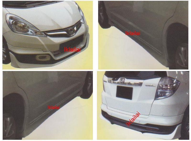 Honda Jazz '13 Modulo Style Full Set Skirting Body Kit PU Material