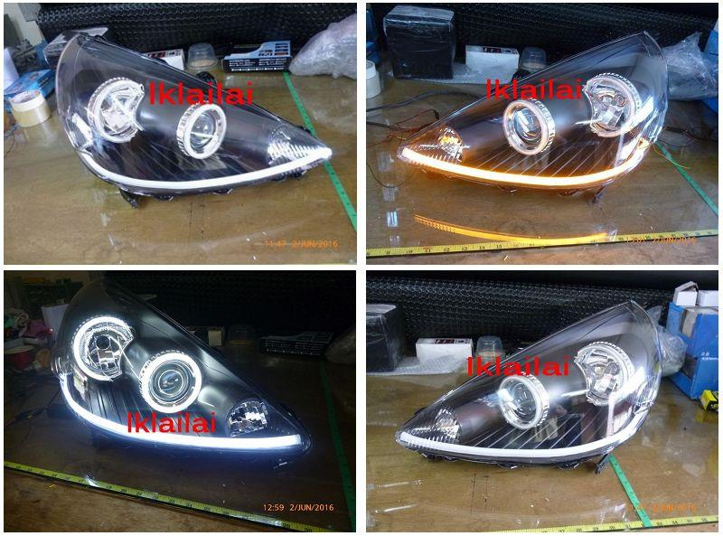 Honda Jazz / Fit /02-07 CCFL Ring Projector Head Lamp LED DRL R8