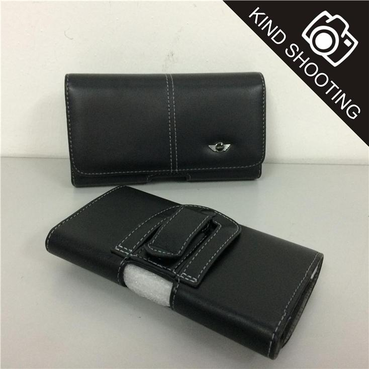 Horizontal Samsung Galaxy Mega 1 2 Belt Case Leather Pouch / Pouch Bag