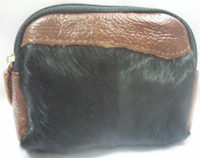 Horse Hair Fur Leather Pouch (Black)~New