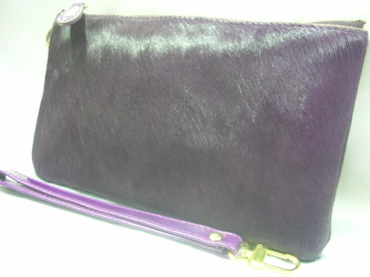 Horse Hair Fur Leather Pouch/Dinner Clutch(Purple)~New