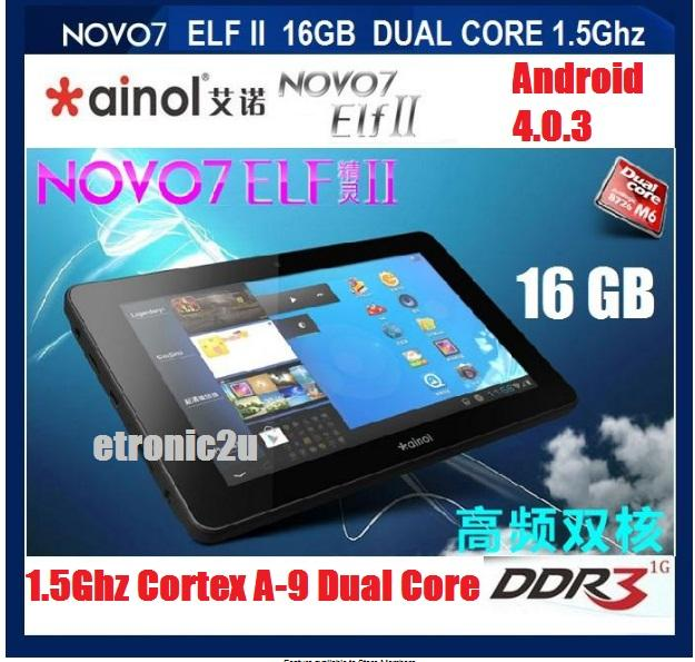 **HOT**NEW 16GB BUILT IN NOVO 7 ELF 2 DUAL CORE (BLACK/WHITE)