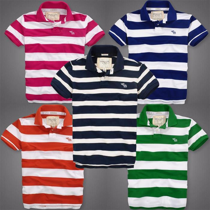 Hot AF POLO Men T-shirt Signature LOGO Collar Stripes Summer Tee
