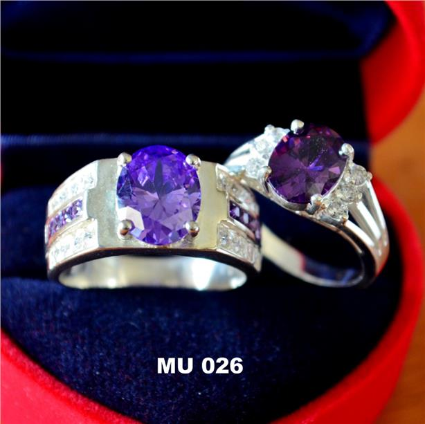 HOT COUPLE SET PURPLE SILVER RING (MU026)