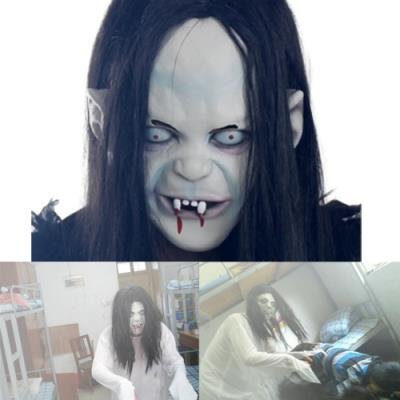 Hot Halloween Toothy Zombie Ghost Mask Scary Emulsion Skin with Hair