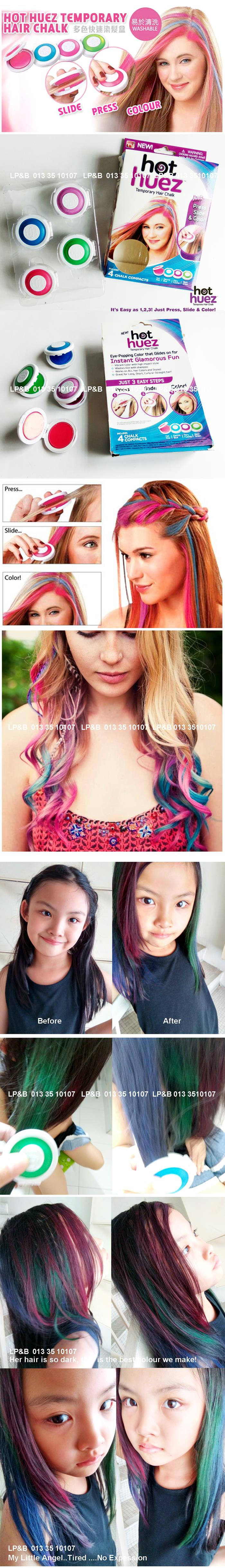 Hot Huez 4 Colors DIY Temporary Hair Chalk Powder – Easy To Wash Out