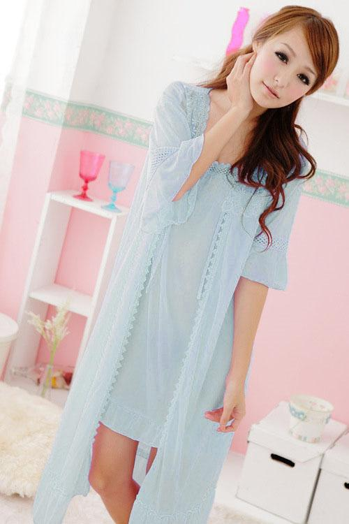Hot~Ice Silk Comfortable 2pcs Suit (Light Blue)